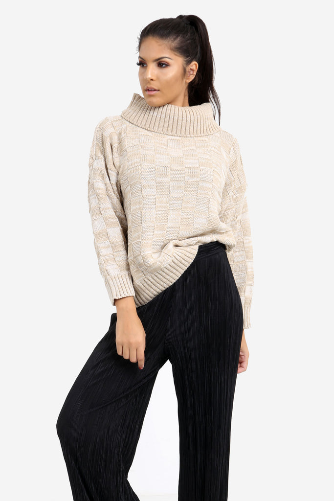 Beige Checkered Oversized Knit