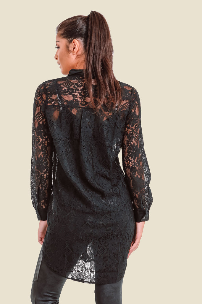 Black Long Lace Shirt