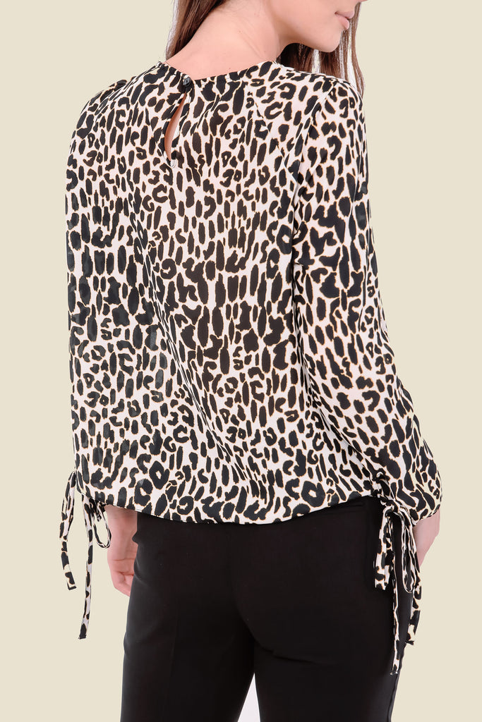 White Long Sleeve Leopard Print Top