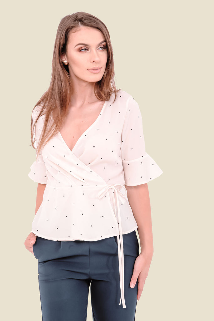 Cream Polka Dot Wrap Top