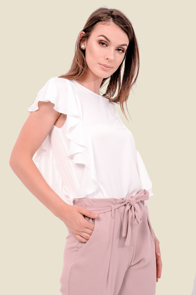 White Frill Silky Top