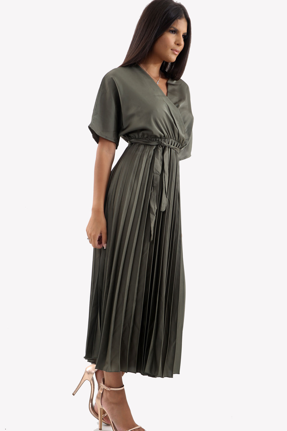Khaki Satin Batwing Pleated Maxi Dress
