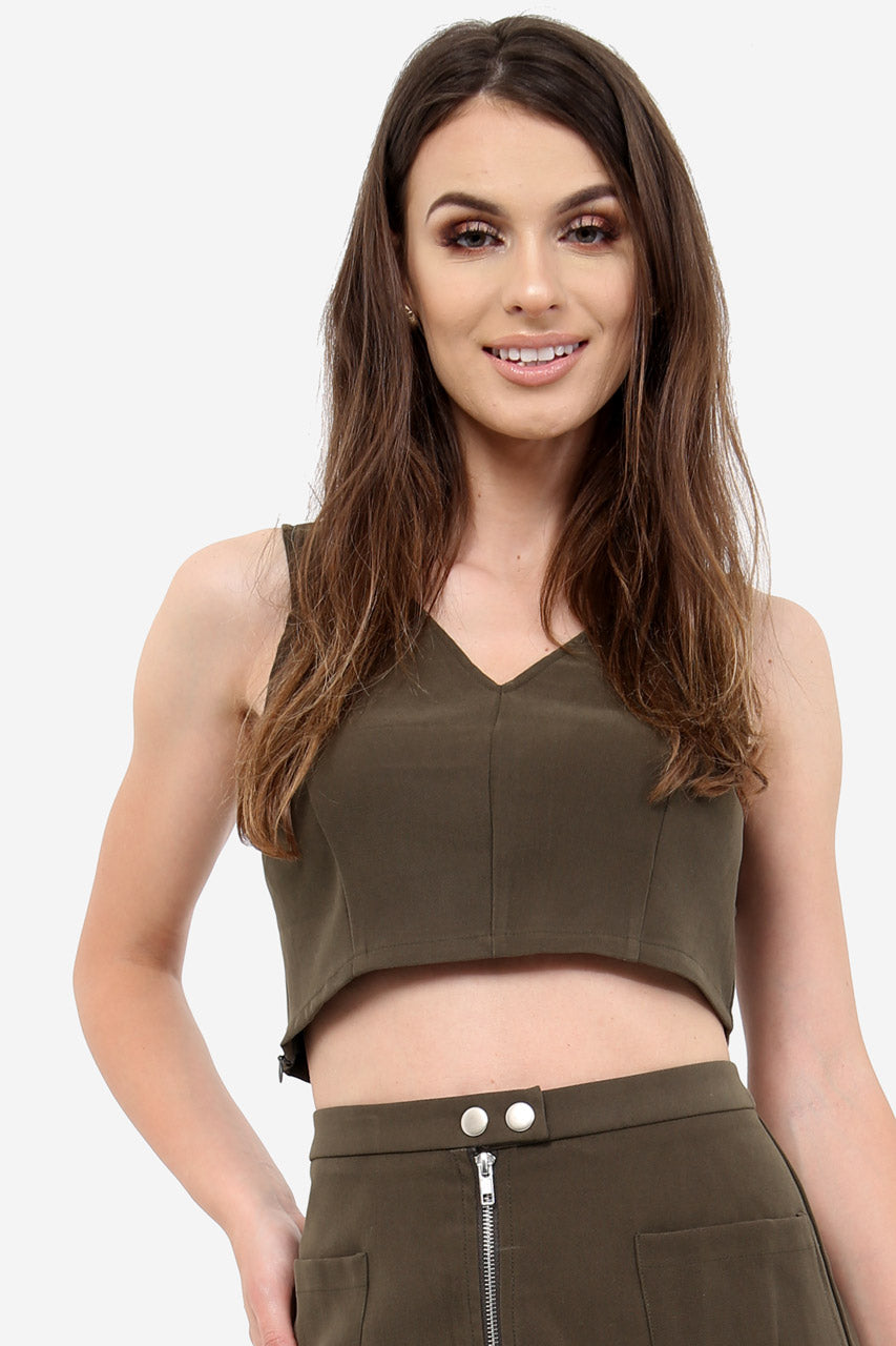 Khaki Faux Suede Crop Top