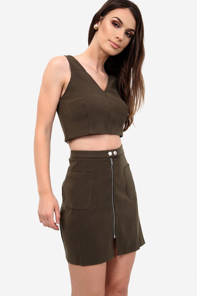 Khaki Faux Suede Zip Front Mini Skirt