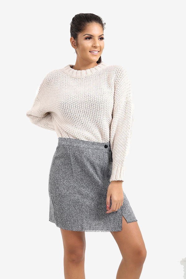 Beige Knitted Round Neck Jumper
