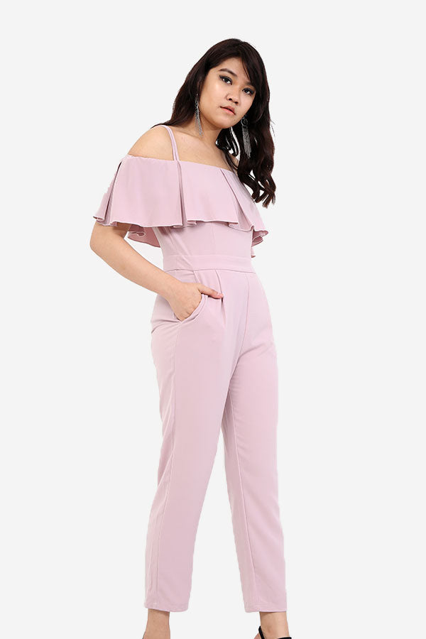 Lavender Jumpsuit With Noodle Straps