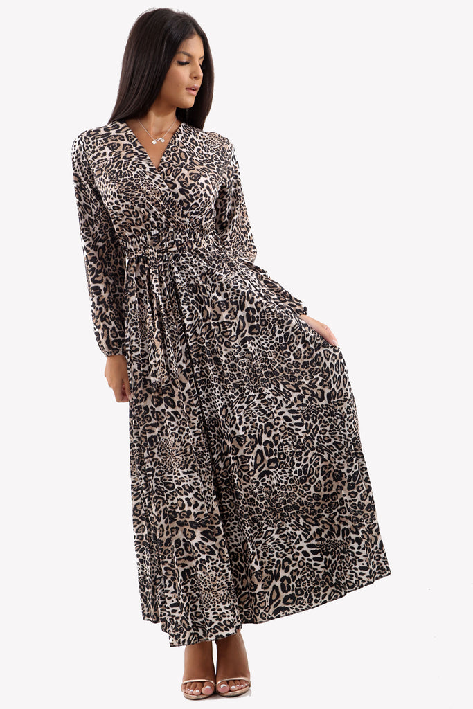 Long Sleeve Leopard Print Maxi Dress