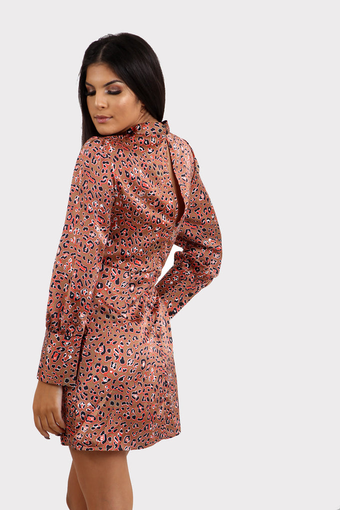 Leopard Print High Neck Long Sleeve Tea Dress