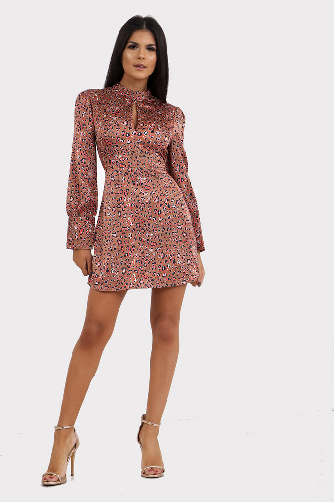 Pink Leopard Print High Neck Long Sleeve Tea Dress