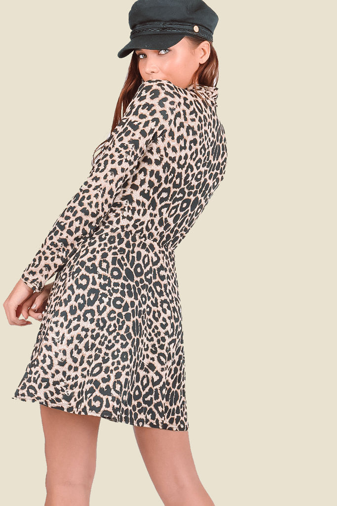 Brown Leopard Print High Neck Mini Dress