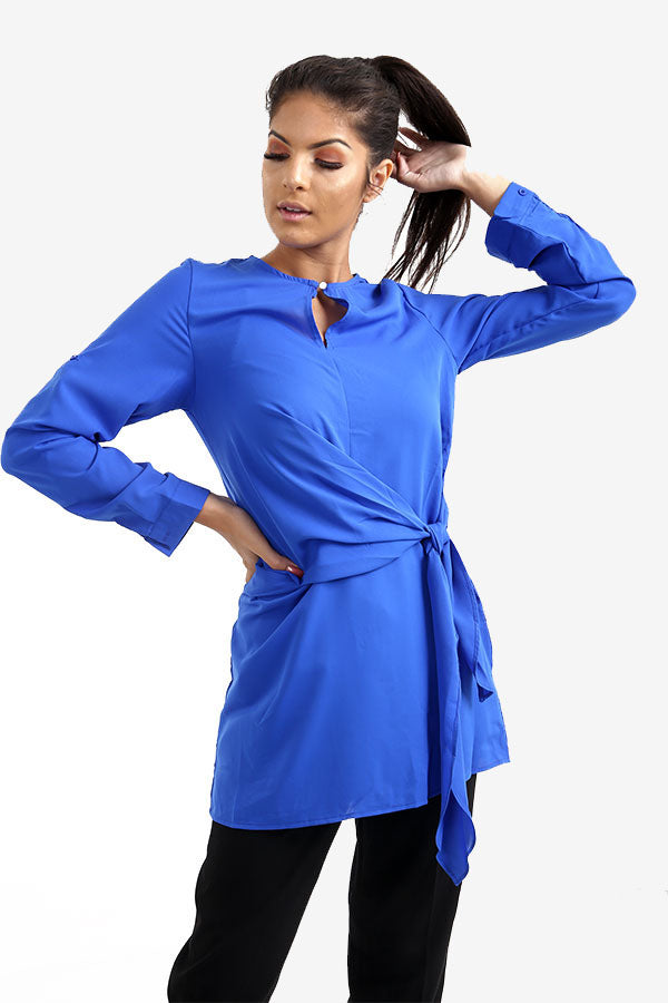 Royal Blue Long Side Tie Top