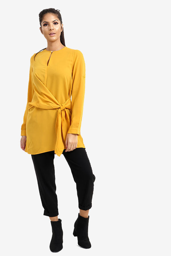 Yellow Long Side Tie Top