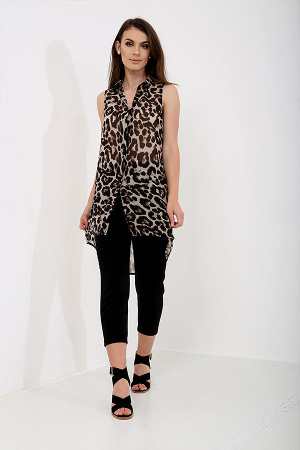 Sleeveless Leopard Print Long Shirt