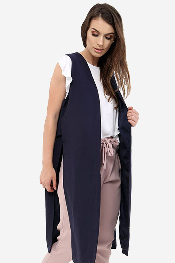 Navy Longline Sleeveless Jacket