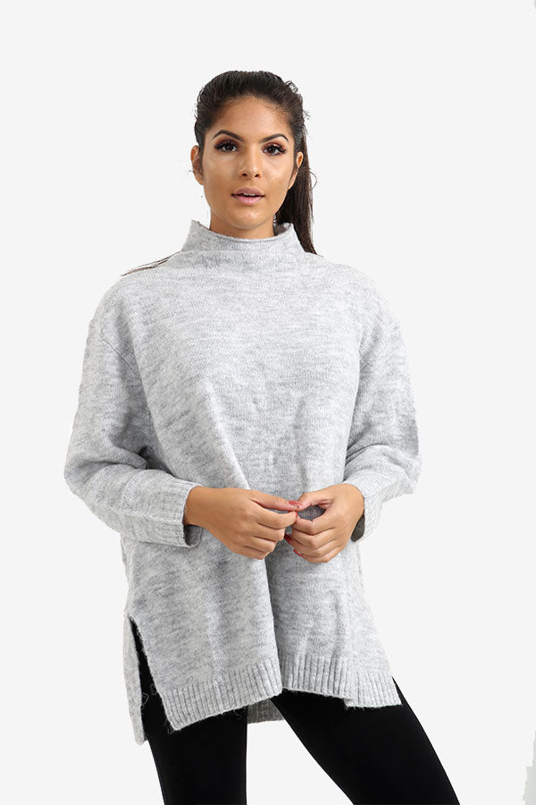 Grey Oversized Jumper With Raised Collar