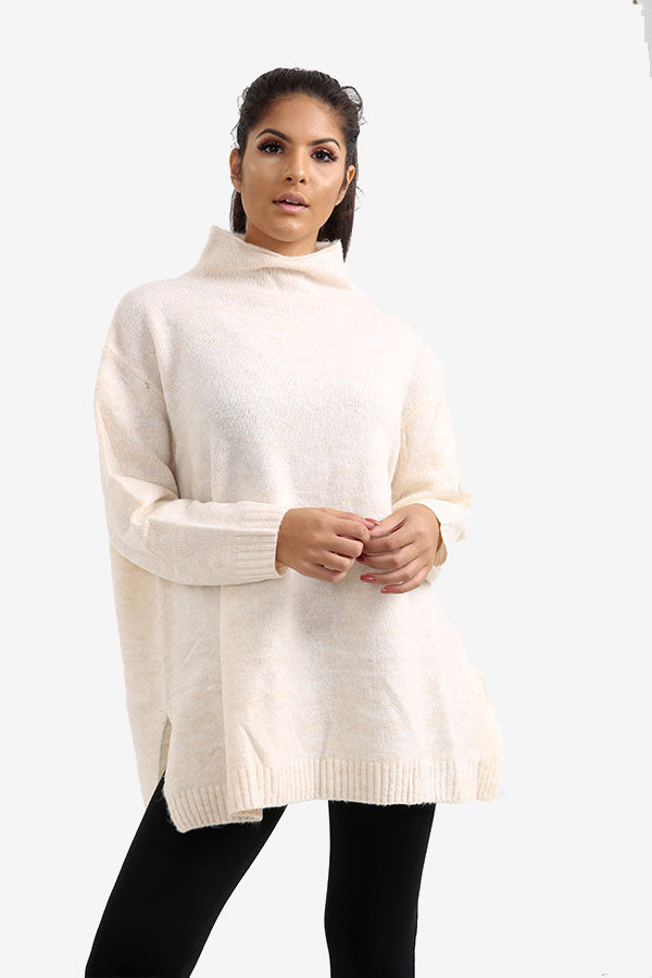 Vanilla Oversized Jumper With Raised Collar