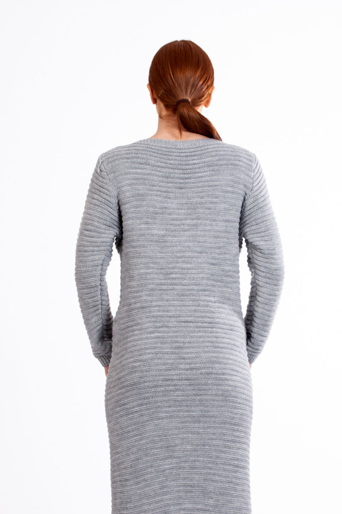 Grey Cable Knit Maxi Jumper Dress