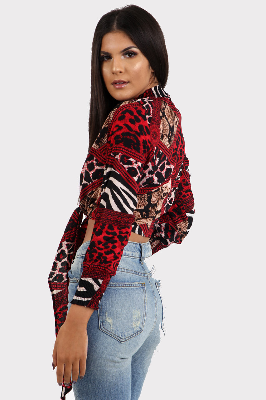 Red Animal Print Tie Front Crop Top