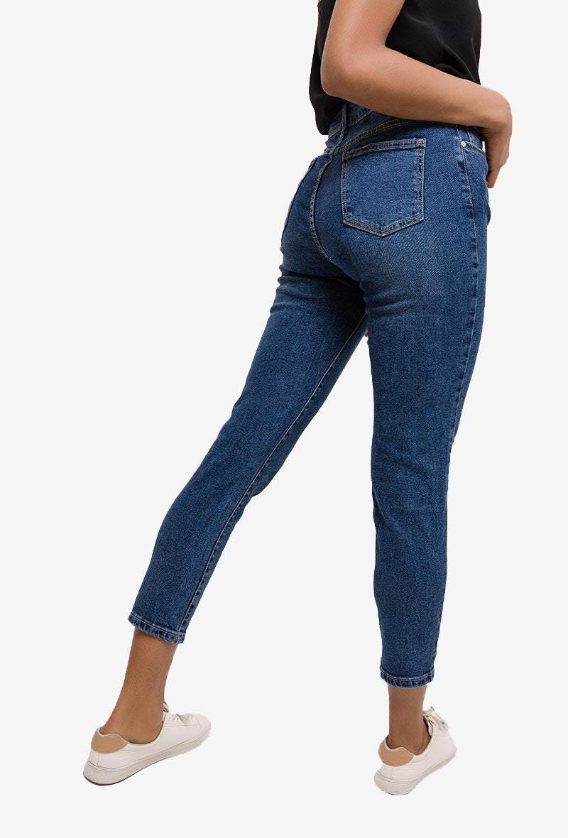 High Waisted Ankle Grazer Mom Jeans