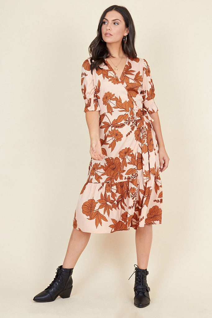 Ivykove Multi Floral Print Ruffled Tiered Hem Shirred Sleeve Wrap Midi Dress