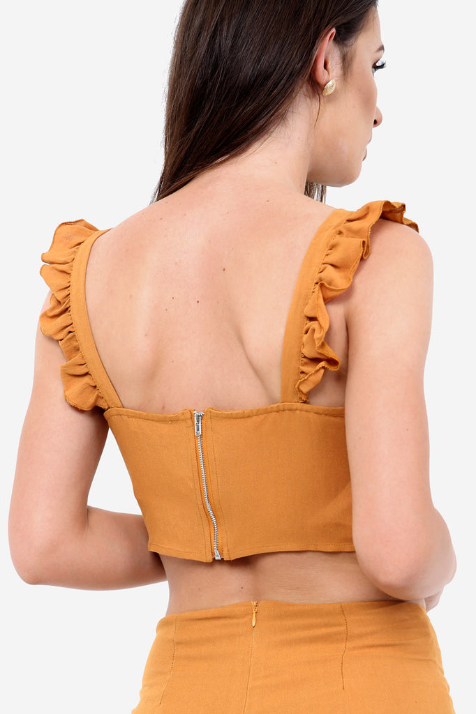 Mustard Frill Crop Top