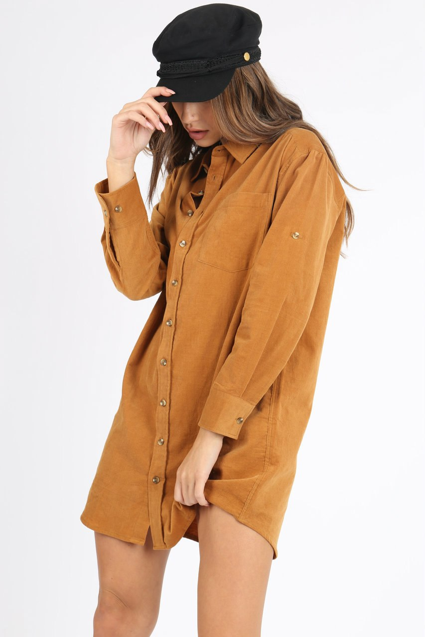 Light Orange Long Sleeve Cord Shirt Dress