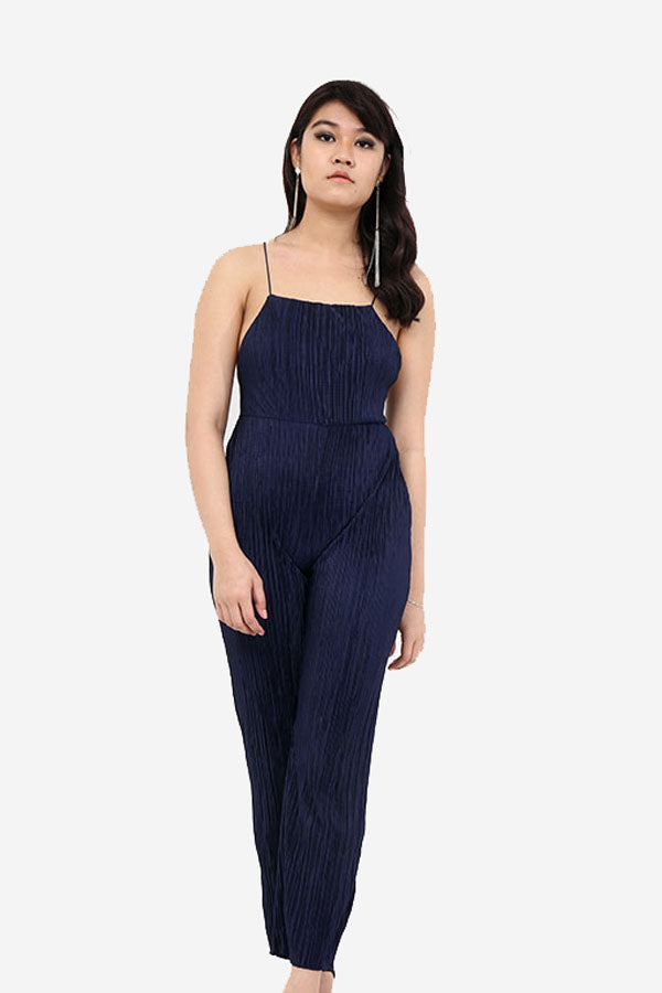 Navy Pleated Jumpsuit With Noodle Straps