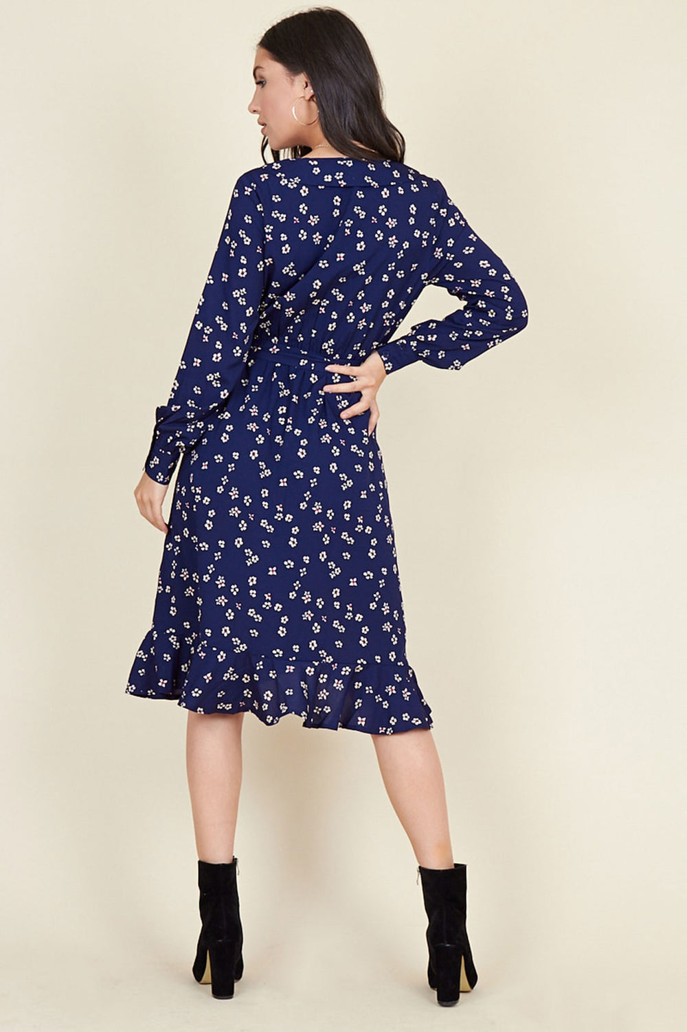 Ivykove Navy Floral Print Belted Ruffle Hem Wrap Midi Dress