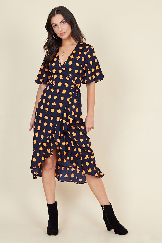 Ivykove Navy Orange Puzzle Spot Print Wrap Midi Dress with Frill