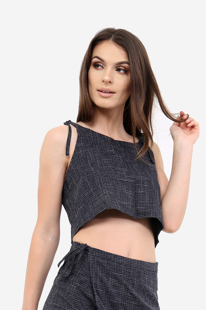Navy Textured Crop Top In Check