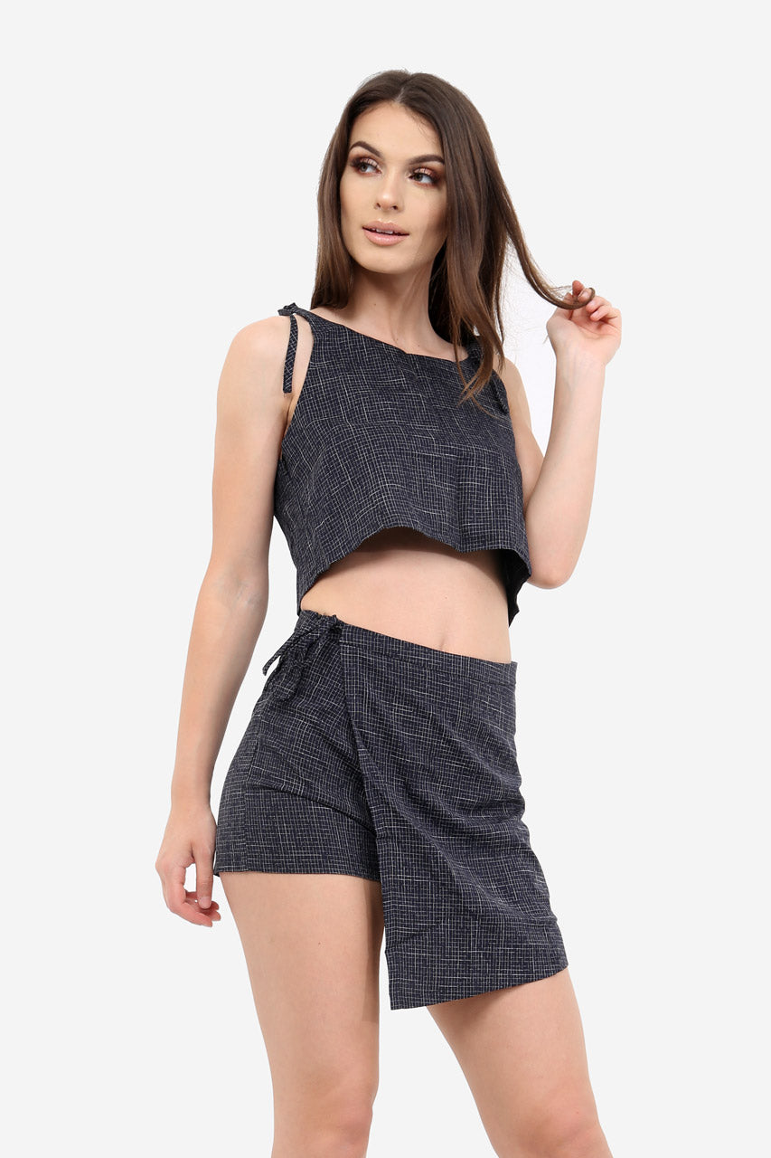 Navy Textured Wrap Skort In Check