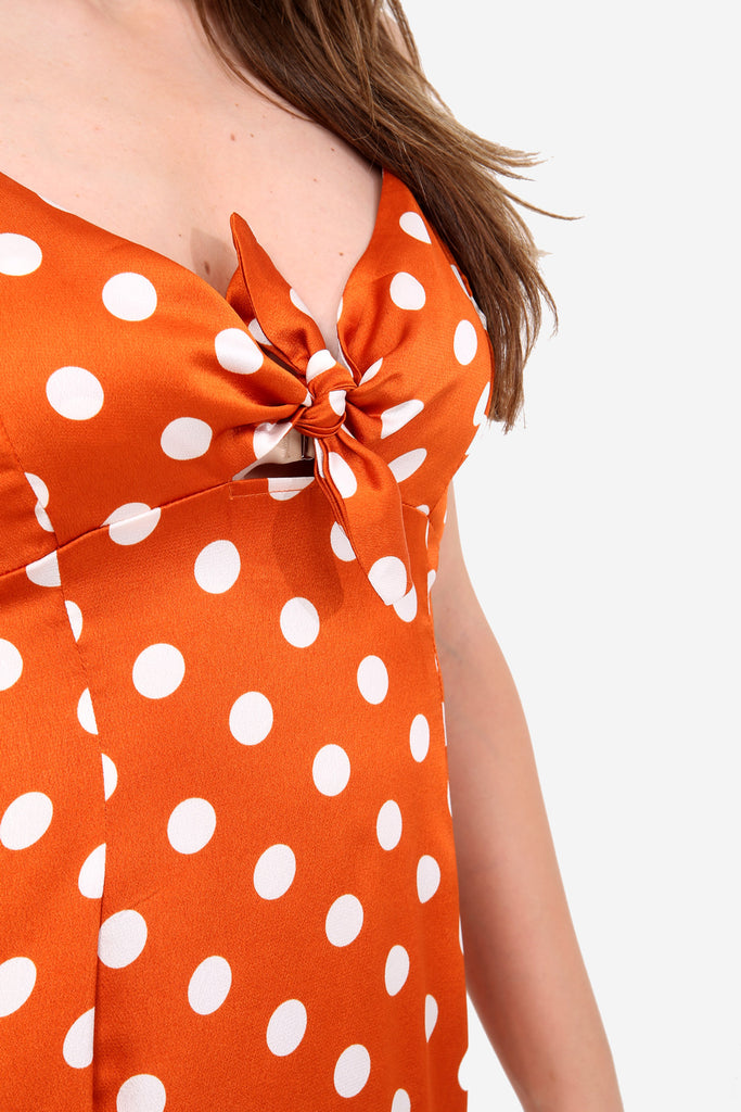 Orange Polka Dot Mini Dress