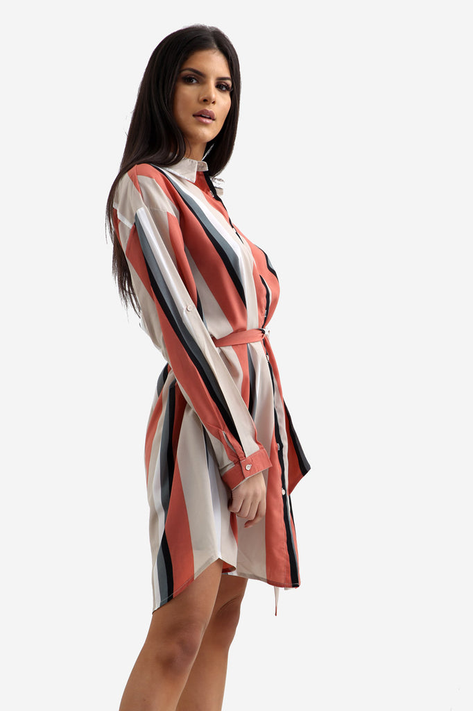 White Oversized Striped Shirt Dress