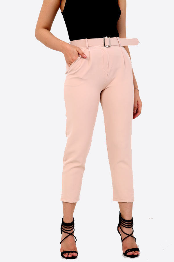 Blush Pink Slim Fit Belted Trousers