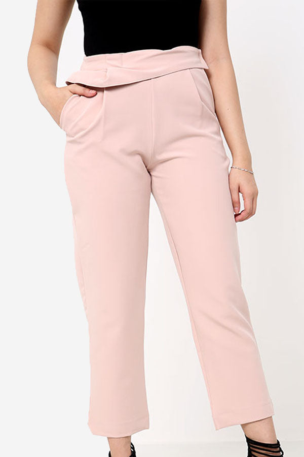 Blush Pink High Waisted Straight Leg Trousers With Ruffle Detail