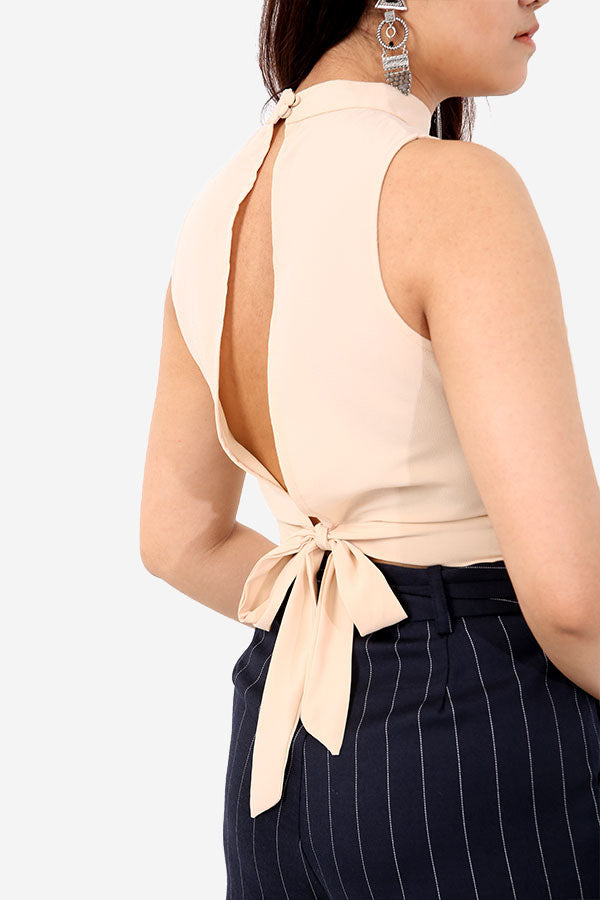 Nude Tie Back Top