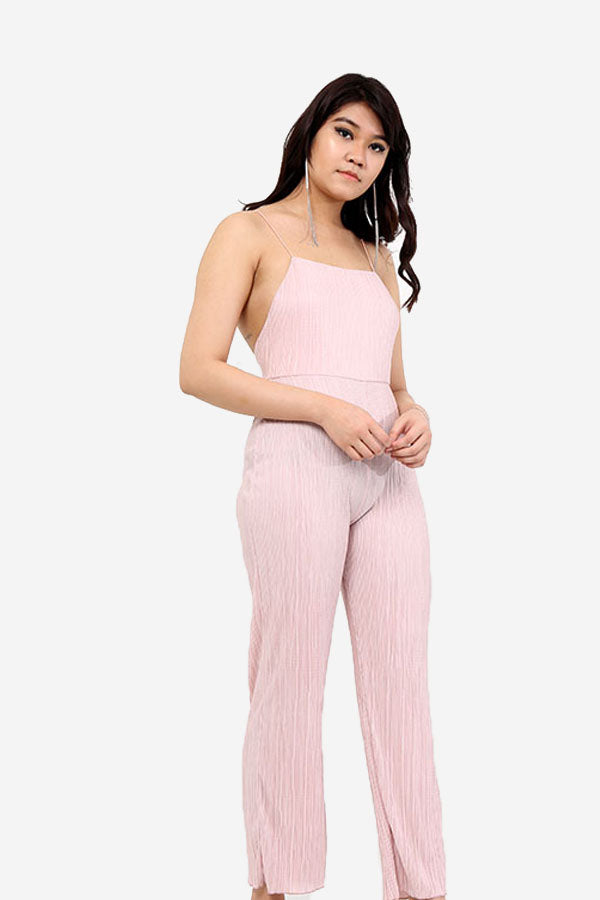 Pink Pleated Jumpsuit With Noodle Straps