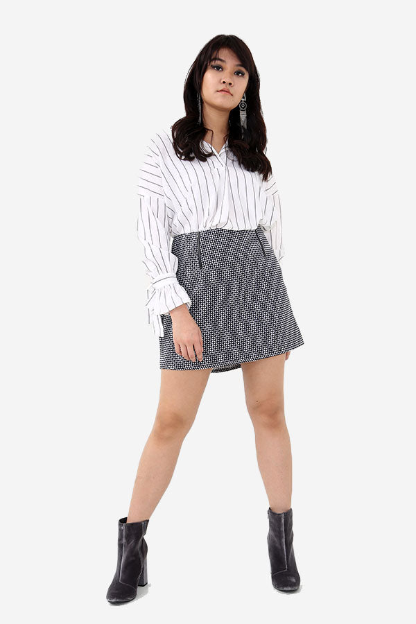 Patterned Mini Skirt With Zips