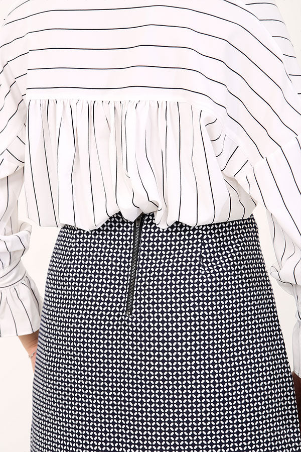 Patterned High Waisted Skirt
