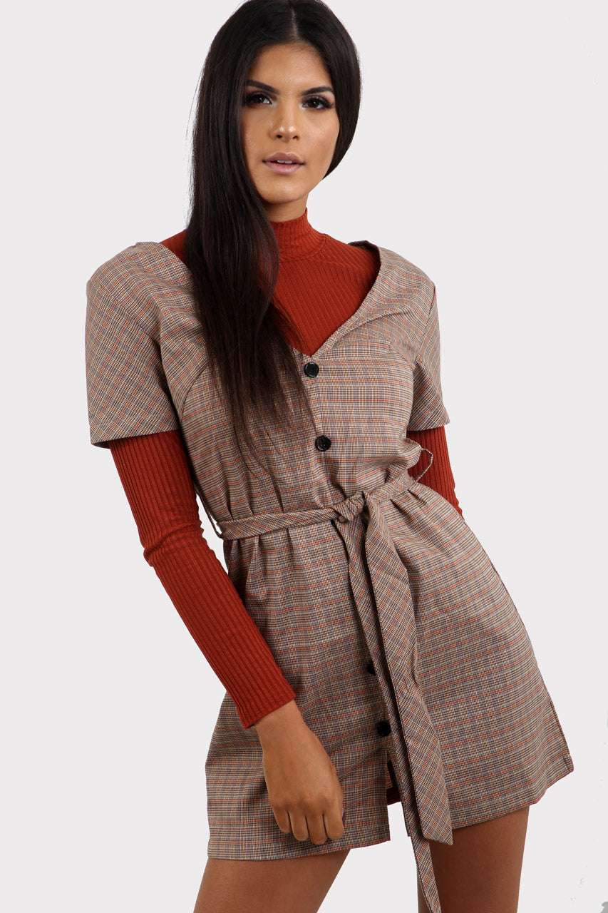 Plaid Button Through Dress With Belt