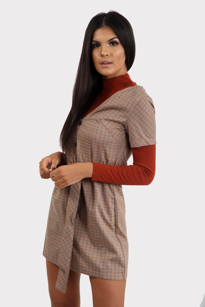 Brown Plaid Button Through Dress With Belt