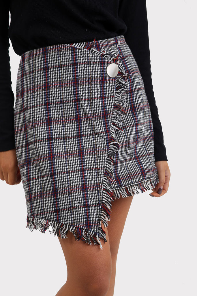 Grey Plaid Wrap Checkered Skirt