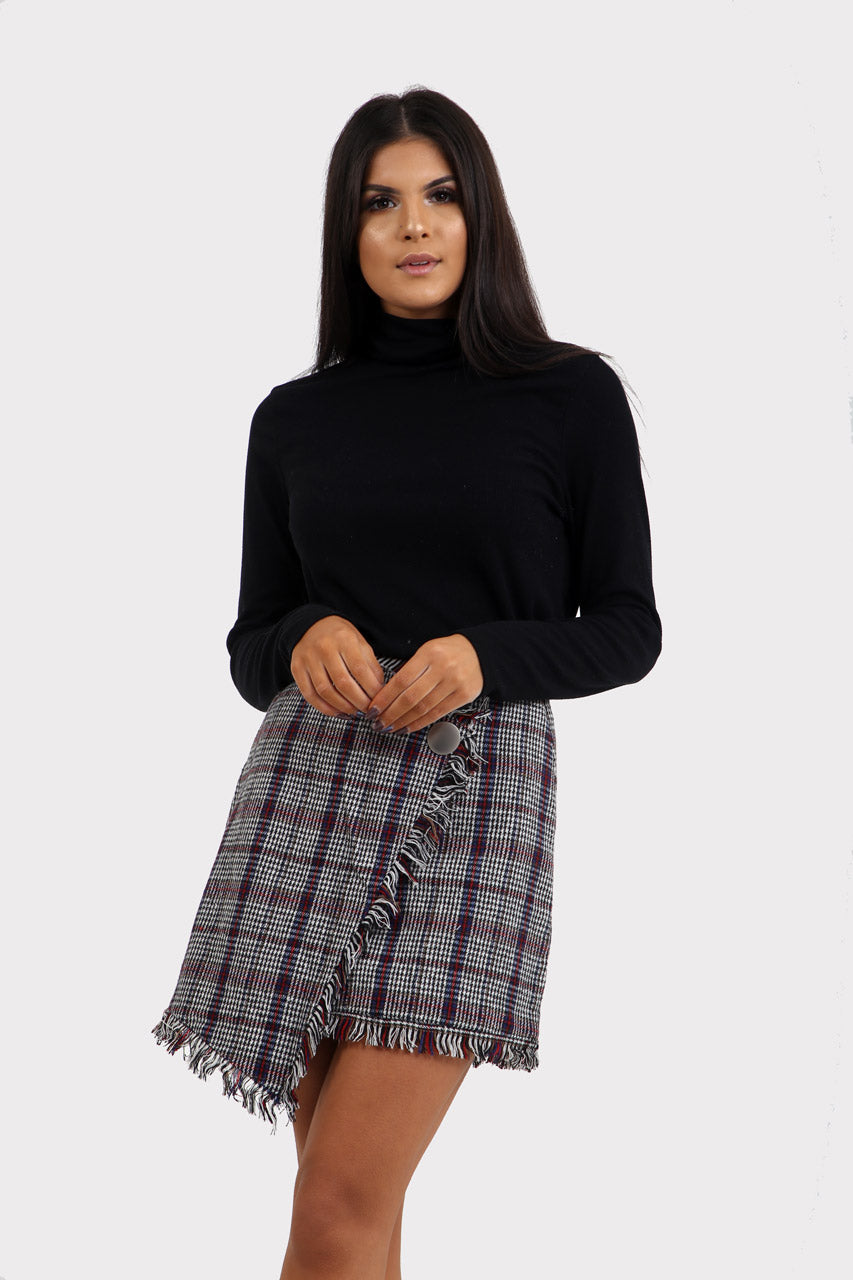 Plaid Wrap Check Skirt
