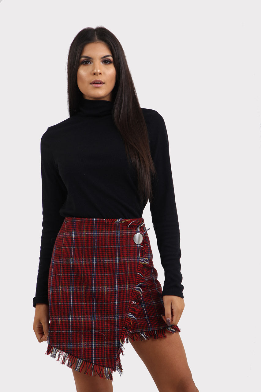 Red Plaid Wrap Checkered Skirt