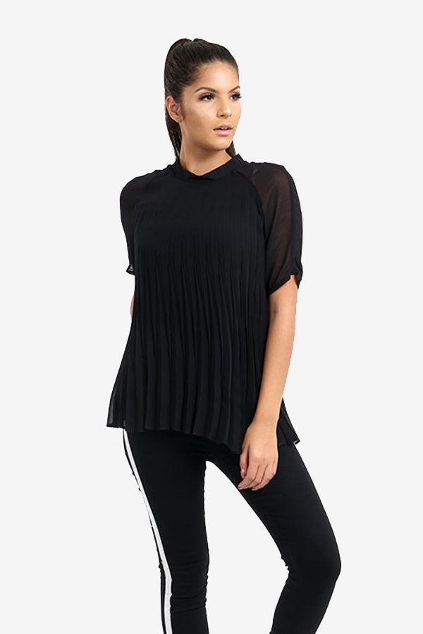 Black Pleated Transparent Blouse