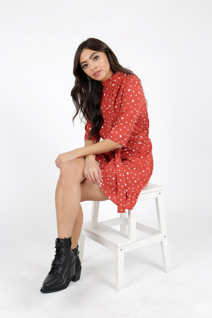 Red Polka Dot High Neck Ruffle Wrap Mini Dress