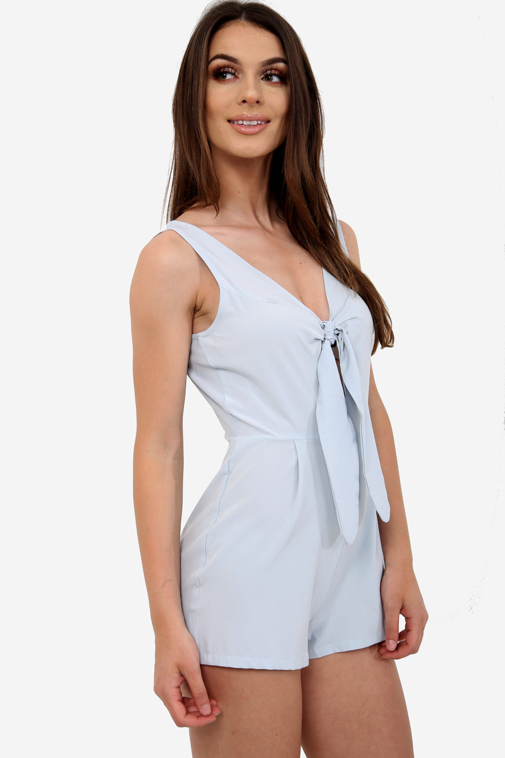 Powder Blue Bodycon Tie Playsuit