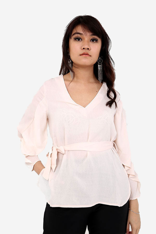 Pink Belted Relaxed Fit Blouse