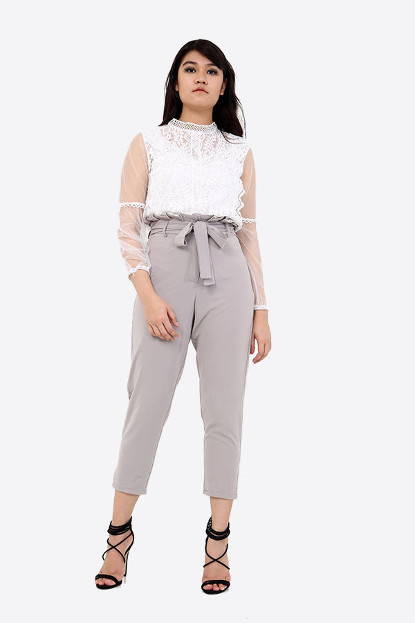 Belted Paper Bag Waist Trousers