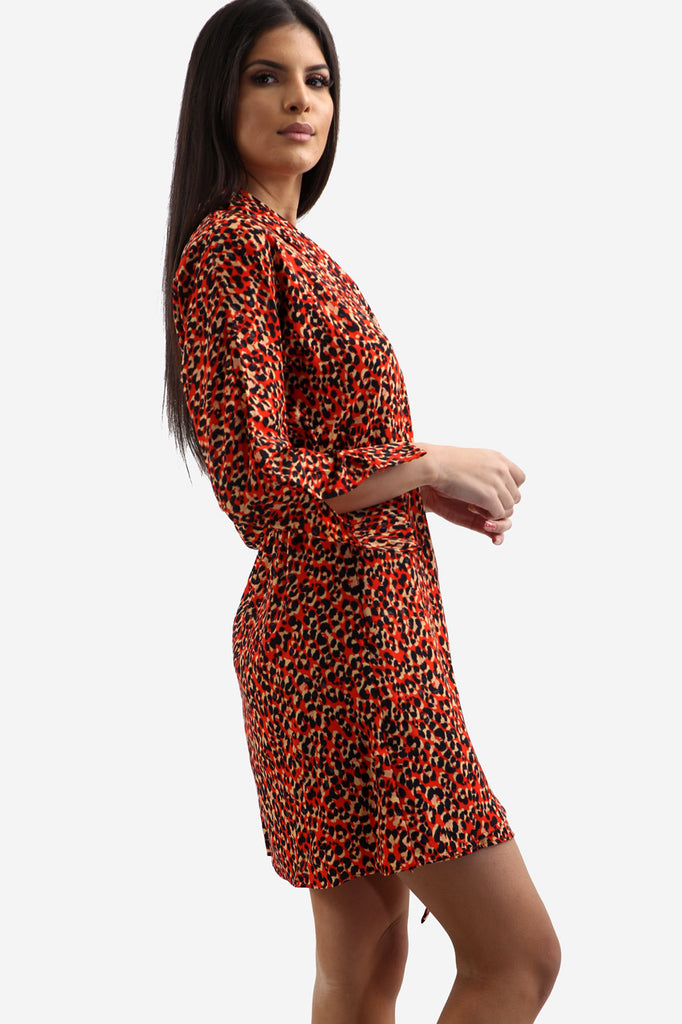 Red Animal Print Lapel Collar Tea Dress In Leopard Print